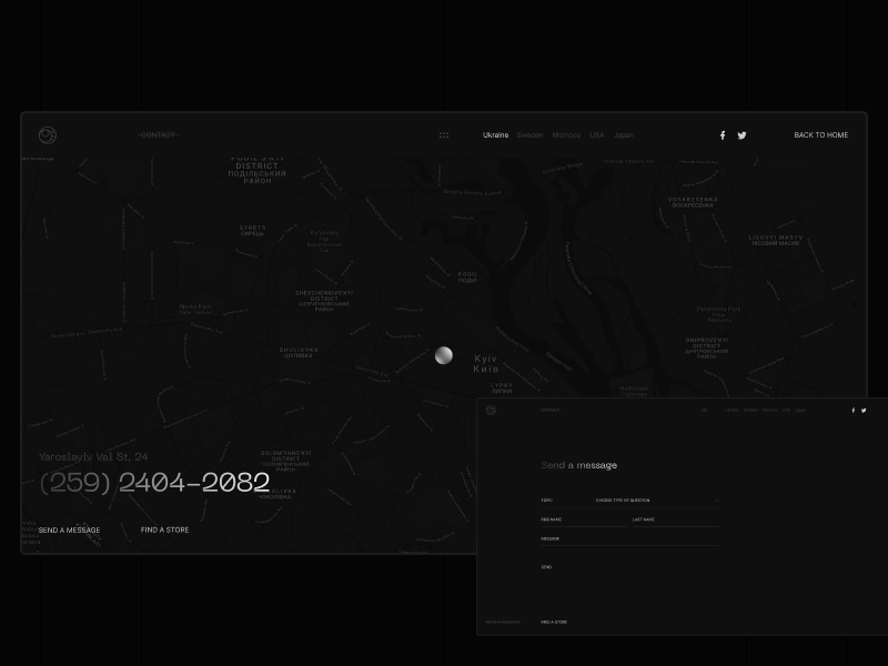 Silver Soul. Contact & Send a Message pointer map message send form contact glow dark experimental typography clear ui web