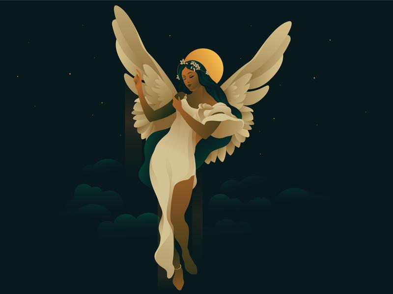 Angel wings angeles angel light adobe illustrator vector eyes girl devine gradiant indian dream love illustration illustrator beautiful golden beauty