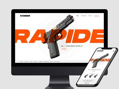 Kimber Website Redesign and Rebrand Concept design identity pistol ecommerce shop logo branding ux ui website armory gun firearm kimber