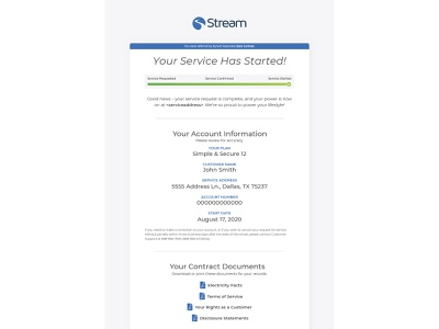 Stream's New Service Progress Emails electricity service email welcome email email marketing email design branding progress bar ux ui user journey communication emails energy