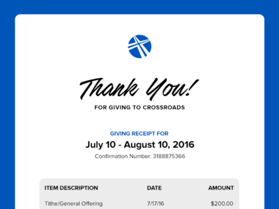 Crossroads Giving Receipt Email thank you payment giving transactional email church branding ux ui email receipt