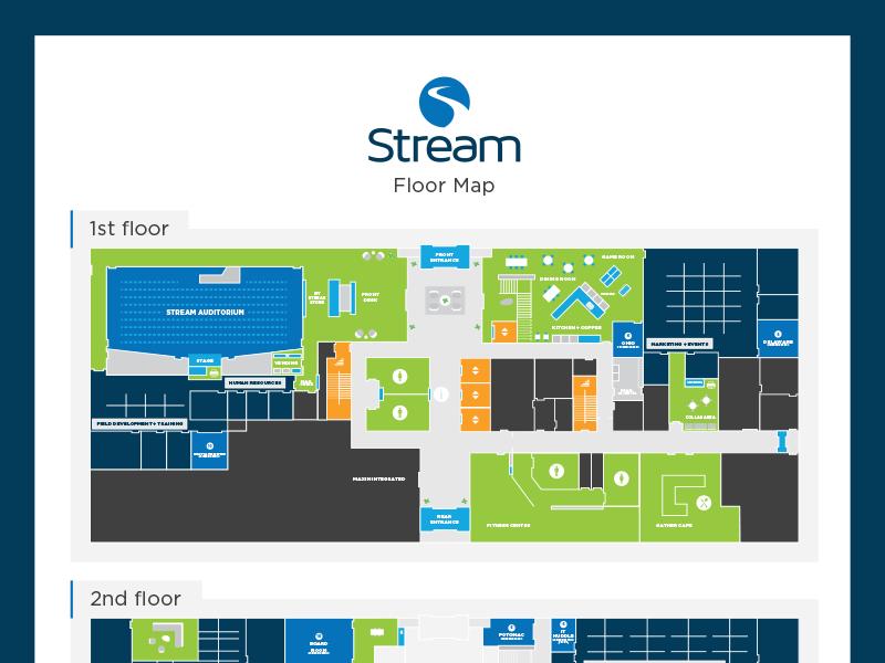 Stream Office Floor Map map floor plan floorplan wayfinding cartography maps navigation way finding layout office map floor map