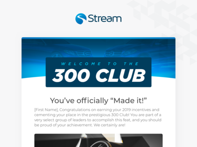 Stream's 300 Club Welcome Email