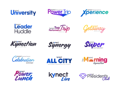 Kynect Events and Sub Brands club live super saturday power lunch presidents club all city celebration university xperience getaway trip subbrand event brand identity logodesign brand typography identity branding logo
