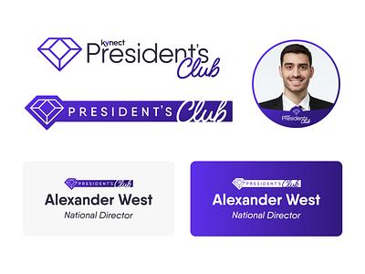 Kynect Presidents Club Badges branding logo badge design national director diamond icon network marketing mlm tag club presidents club president badge
