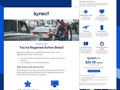 Kynect Transactional Emails mlm network marketing mobile responsive icon upsell transactional transactional email ui uix uiux ui email product status active