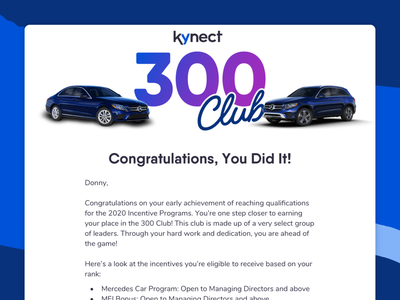 Kynect Congratulations Email - 300 Club graphic design ui  ux uiux mobile ui mobile email marketing transactional email network marketing mlm mercedes-benz mercedes club 300 300 club