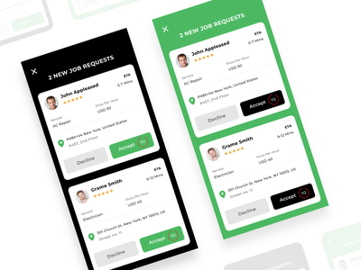 New Job Requests mobile uidesign service provider ui service app ui mobile app app ui job timer requests ui new requests service request decline request accept job job request new job requests