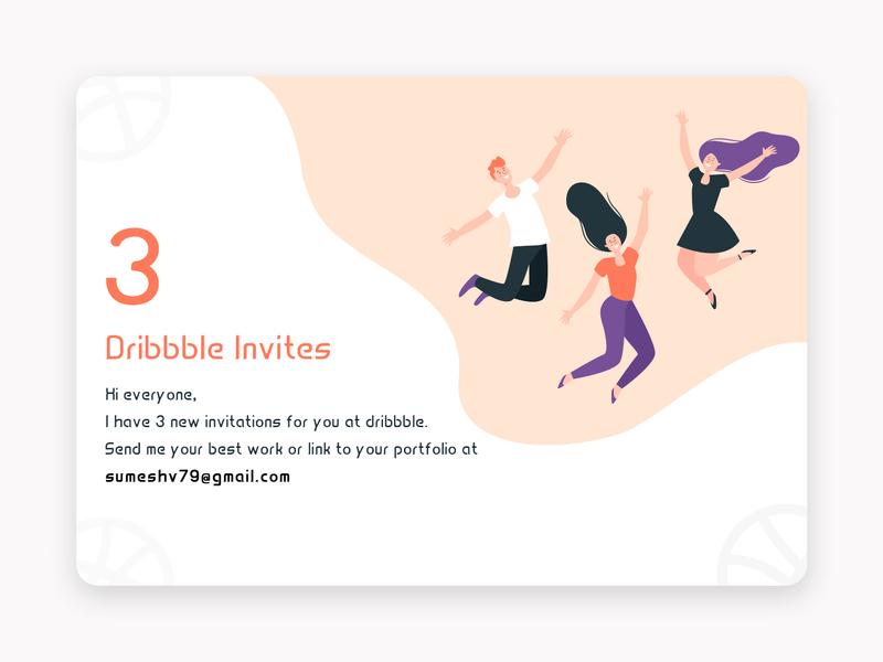 3 Dribbble Invites clean minimal happy invitation three landing page landing webpage design dribbbble invites