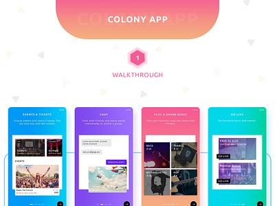 Colony App Design booking app events eventui chatapp walkthroughs feedapp livesharing livemusic musicplayer eventticket ticketbooking eventapp musicapp