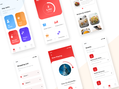 Fitness and Food App Design reminders health mobileapp uidesign redcolor appdesign gradients icons musicplayer eventsapp music dashboard home healthapp foodapp fitnessapp