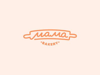 Mama Bakery pin rolling bake bread logo confectionery bakery mom mama