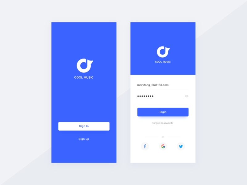 Music APP Login Page By MaryFang