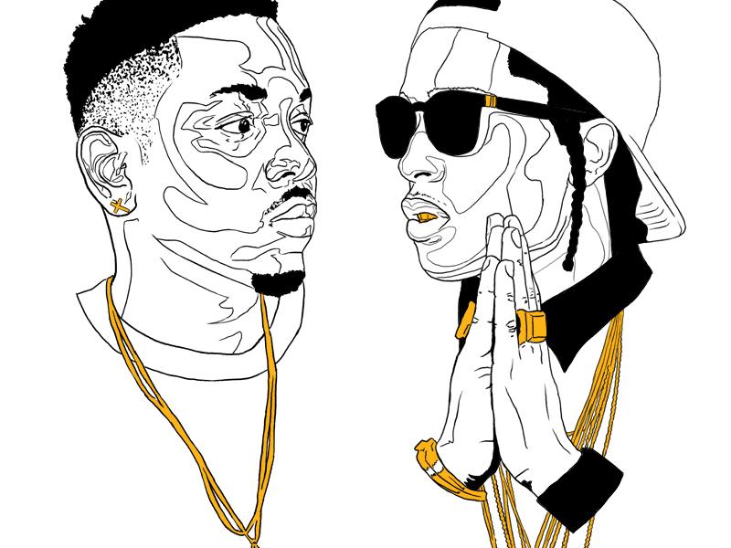 Kendrick // A$AP rap music kendrick lamar asap rocky jewelry gold rapper shades fade illustration grill chains