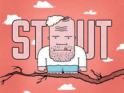 Stout Beer Packaging key art digital paint cloud sky branding drawing simple sketch cartoon face tree branch can character illustration design packaging beer stout