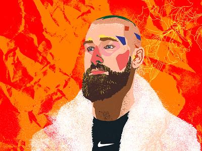 Jonas Valančiūnas man center hoops face person beard nba raptors toronto jonas colorful swoosh nike fur coat digital painting illustration basketball portrait drawing valančiūnas