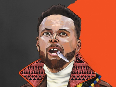Steph Curry: The Shooter from the Bay comic digital painting design pattern style jacket fashion face portrait illustration drawing chef shooter bay area nba golden state warriors basketball steph curry