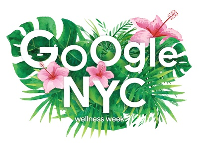 Google Recess Sticker wellness botany greenery watercolor materials event typography lettering pattern floral nature flower plant design marketing nyc sticker google