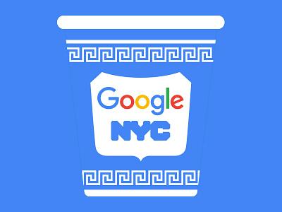 Google Coffee Cup logo blue white cafe badge ceramic mug branding pattern greek classic illustration tech new york nyc cup coffee vector design google
