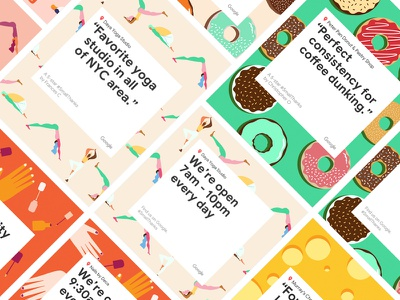 Google Patterns flat illustration flexible sports frosting campaign ui food body position vector pattern nails hands cheese donuts yoga design google smallthanks