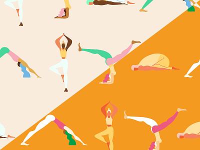 Google Patterns: Yoga body shape smallthanks ui move split colorway flexible design pattern meditation calm movement sport athletics pose vector illustration google yoga