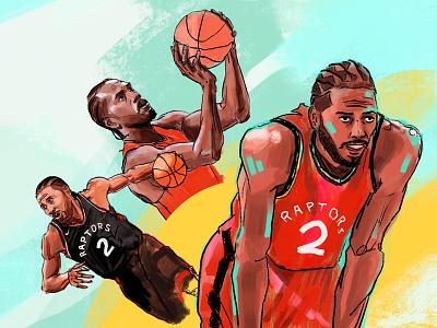 Three Kawhise Men hoops sketch canada digital paint pencil ipad apple procreate portrait illustration drawing sports finals toronto raptors nba basketball leonard kawhi