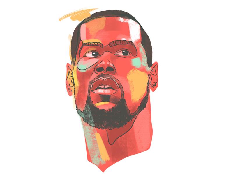 Kevin Durant head league apple digital sketch colorful face champion finals athlete kevin durant pencil procreate design sports sketch drawing nba basketball illustration portrait