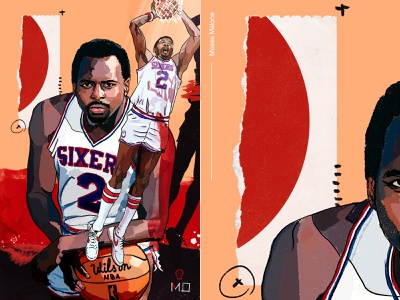 Moses Malone sixers athlete baller player malone moses collage pattern sports 76ers philadelphia portrait drawing nba basketball design illustration
