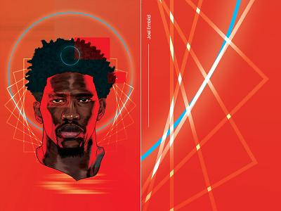 Joel Embiid Remix athlete sports vector portrait drawing nba basketball design illustration sixers 76ers joel embiid