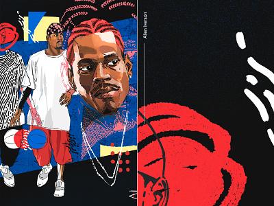 Allen Iverson athlete team 76ers allen iverson street style fashion sports portrait drawing nba basketball design illustration