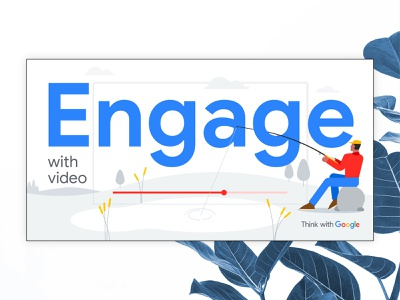 Google: Engage lake pond trees reed nature tech facebook digital fishing character illustration vector graphic banner video youtube engage think ad google