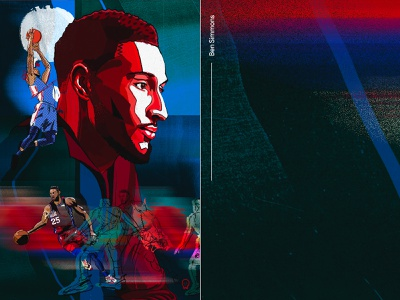 Ben Simmons player style collage colorful texture athlete team sixers 76ers urban philly ben simmons fashion sports portrait drawing nba basketball design illustration