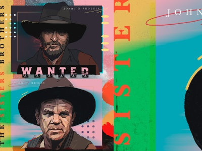The Sisters Brothers wild fashion smoking key art entertainment actor brothers painting collage color pattern western cowboy sketch portrait illustration poster design drawing film poster