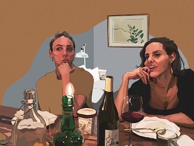 A Dinner Party decor food wine photo film storyboard scene fashion model dinner brush paint sketch figure people portrait wacom digital painting drawing illustration