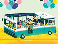 Bus Cafe Illustration