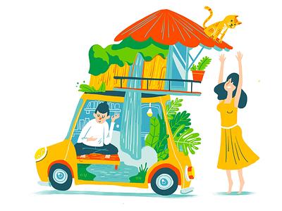 Travel with you mini cats waterfall stone mountain yellow bookoflai car