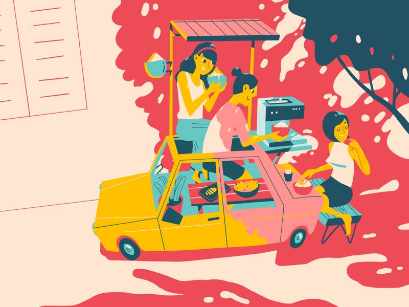 Bingsu Day sun lunch noon bingsu art direction graphics creative art shadow illustration car