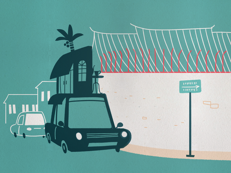 Moving cafe in town turquoise textured print black cyan car art editorial graphic asia illustration