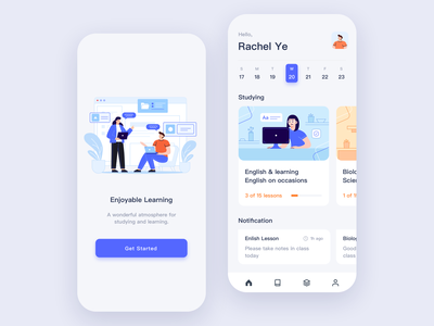 Study Online education mobile learn knowledge courses illustration online study app ui design