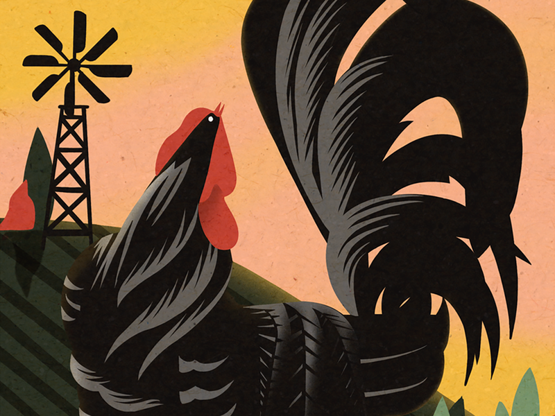 El Gallo - The Rooster procreate art ipadpro procreateapp farm hand drawn applepencil mexican loteria digitalart procreate illustration bingo mexico rooster gallo