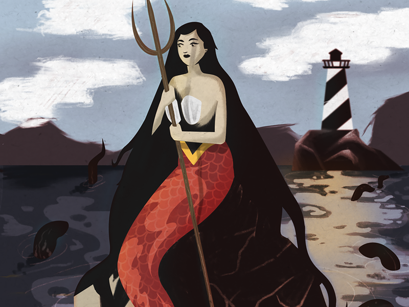 La Sirena - The Mermaid sea procreateapp procreate illustration sea creature neptune serpent lighthouse folkart folk mexican art mexican loteria sirena mermaid