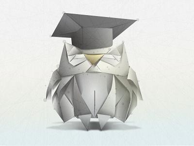 Learning Owl illustrator education vector origami illustration adobe bird graduation