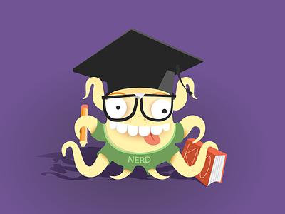 Octo-Nerd character mascot learn vector illustrator education illustration