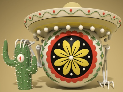 Eye-Eye-Eye illustration 3d illustration cactus mexico character design 3d modo