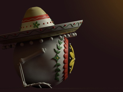 Eye-Eye-Eye day of the dead cactus mexico 3dillustration character design 3d modo