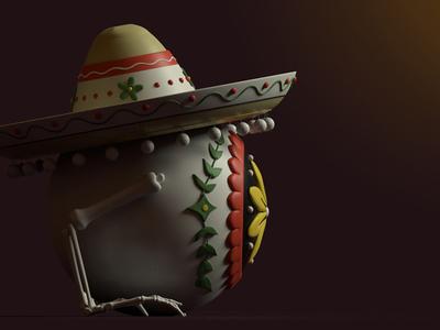 Eye-Eye-Eye day of the dead cactus mexico 3dillustration character design 3d modo