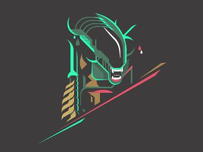 Alien green alien geometric geometrical