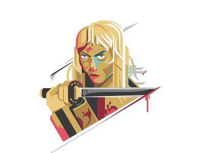 Kill Bill doppelpack card set illustration sword uma thurman umathurman uma kiddo beatrix kiddo killbill kill bill