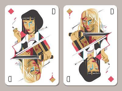 Uma Thurman mia wallace pulp fiction kill bill killbill beatrix kiddo kiddo uma umathurman illustration card set doppelpack