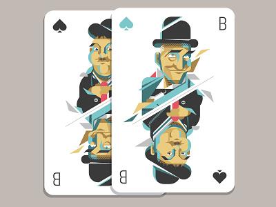 Laurel & Hardy illustration doppelpack dick  doof dickunddoof hardy laurel laurelhardy cards spade jack